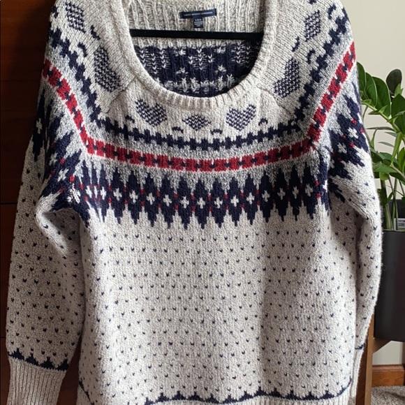 AEO Grey Fair Isle Sweater